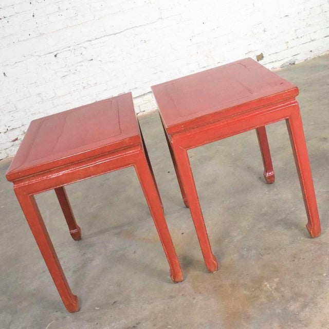 Wood Mid 20th Century Asian Ming Style Chinese Crackle Red Lacquer Rectangular End Tables - a Pair For Sale - Image 7 of 13