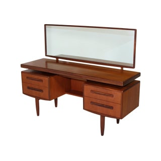 Mid Century G Plan Fresco Teak Desk/Vanity With Mirror For Sale