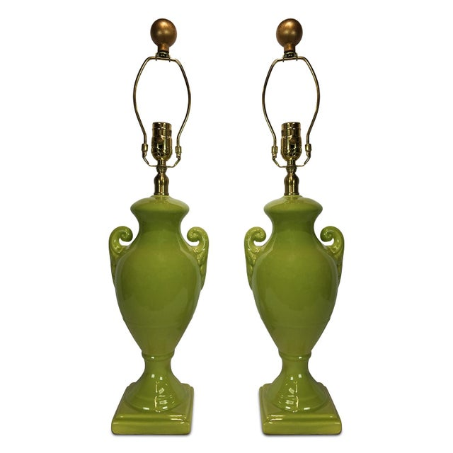 A very contemporary design based on one of the most classic of periods: A pair of chartreuse, high-gloss glaze ceramic...