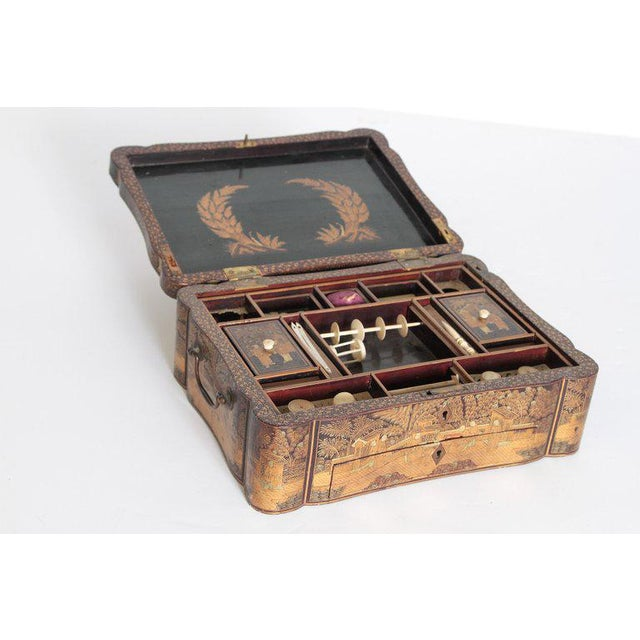 Bone 19th Century Chinese Export Chinoiserie Lacquer Sewing Box For Sale - Image 7 of 13