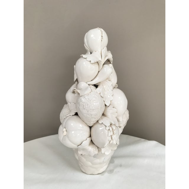 Mid-Century Modern White Majolica Fruit Vegetable Topiary Blanc De Chine Centerpiece For Sale - Image 4 of 8