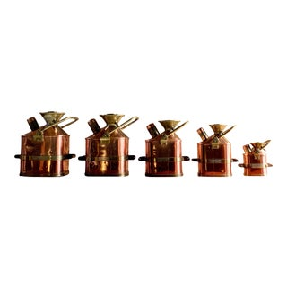 Monmouthshire County Council Petrol Measuring Cans Copper & Brass, 1931 - Set of 5 For Sale