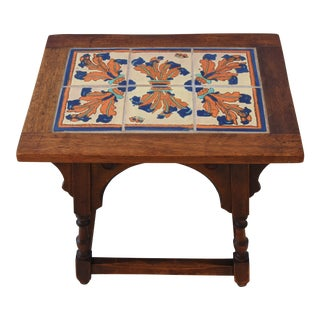 1940s California Mission Tile Oak Table For Sale
