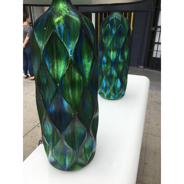 Mid-Century Modern 1970s Mid-Century Modern Iridescent Green & Blue Glaze Ceramic Lamps - a Pair For Sale - Image 3 of 12
