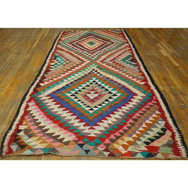 """Vintage Persian kilim 12'6"""" x 5'8"""", Handmade with recycled fabric."""