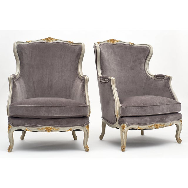 French Louis XV Style French Bergère Chairs - a Pair For Sale - Image 3 of 12