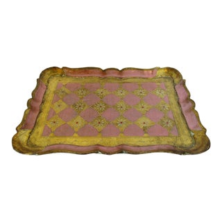 Florentine Pink & Gold Wood Tray For Sale