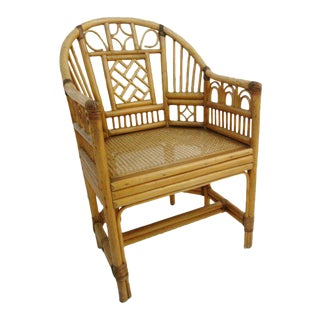 Brighton Bamboo Chair With Cane Seat and Leather Wrapping For Sale