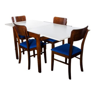 Contemporary Wood Dining Table and Chairs Set For Sale