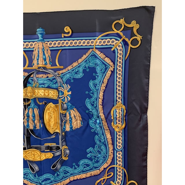 Late 20th Century Beautiful Hermes Equestrian Themed Brides De Cour Silk Scarf For Sale - Image 5 of 7