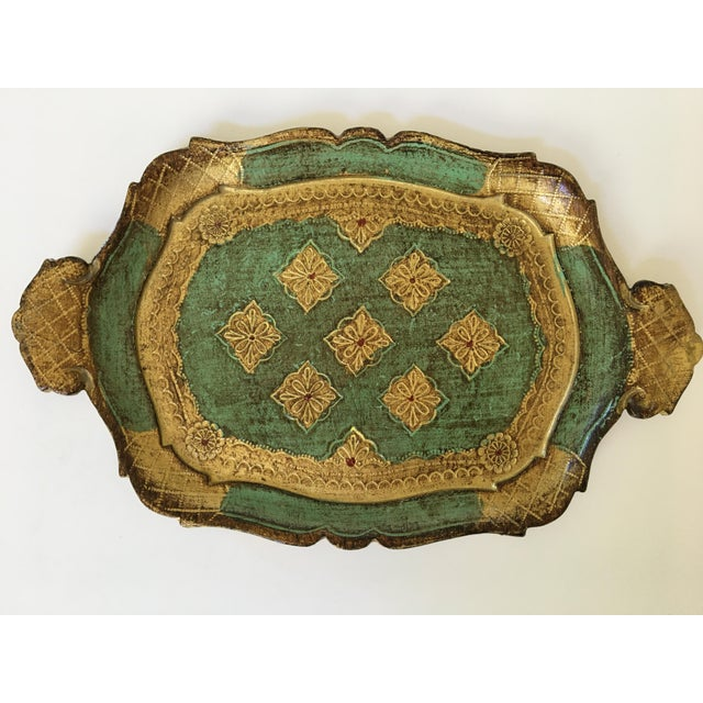 Mid-Century Gilt & Green Wooden Florentine Handled Tray - Italy For Sale - Image 9 of 10
