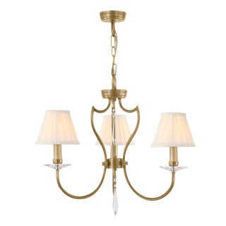 Pimlico 3-Light Chandelier in Aged Brass For Sale