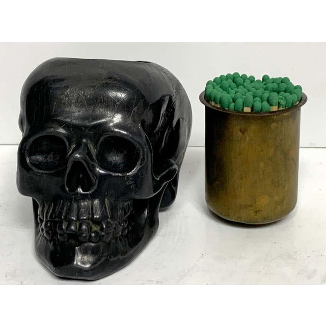 Black Antique German Gunmetal Skull Match Holder/Strike For Sale - Image 8 of 11