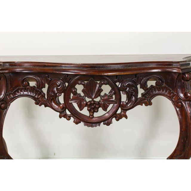 Traditional Traditional Carved Wood Console Table, Vintage Carved Wood Console For Sale - Image 3 of 10