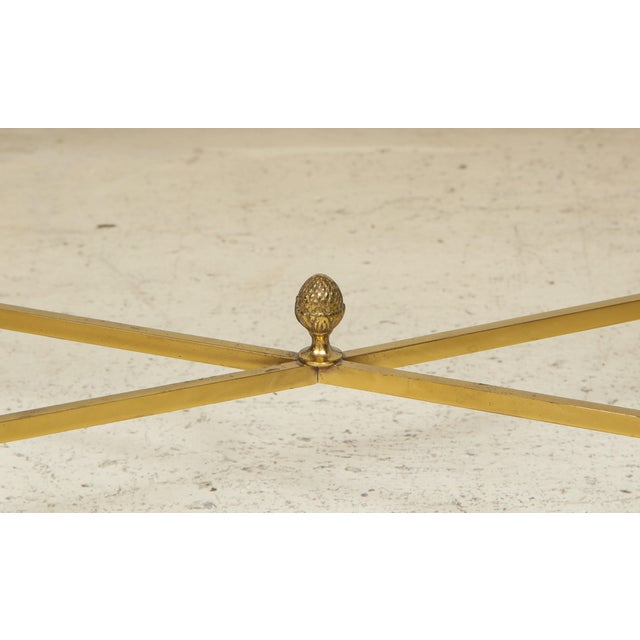 Gold Rectangular Brass Coffee/Cocktail Table With Smoked Glass on Stretcher Base For Sale - Image 8 of 11