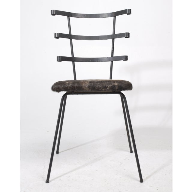 1950s Modernist Iron Side Chair with Cowhide Seat - Image 7 of 7