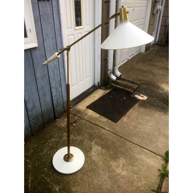 Leather Wrapped Brass and Metal Adjustable Floor Lamp For Sale In Philadelphia - Image 6 of 11