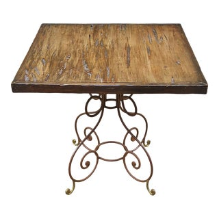 Vintage Italian Mid-Century Modern Wrought Iron & Bronze Center Table For Sale