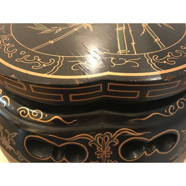 Black Chinoiserie Style Plant Stand or Pedestal For Sale - Image 8 of 11