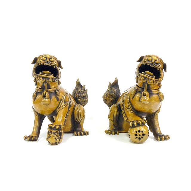 Fengshui Chinese Bronze Metal Foo Dogs - Pair - Image 2 of 6