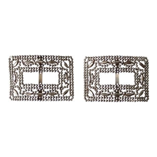 Antique French Steel Cut Shoe Clips For Sale