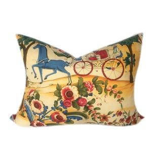 "Vintage Lorenzo Rubelli Tsarevich Italian Toile Pillow ""Nobleman and Carriage"""