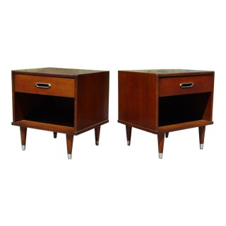 Vintage Pair Mid Century Modern Joerns Furniture Walnut Nightstands End Tables For Sale