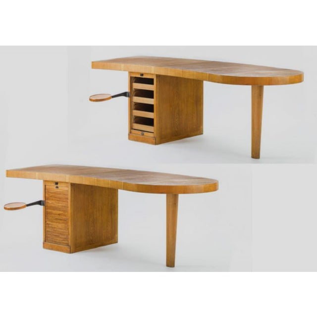 Exceptional french modernist boomerang shaped architect desk.