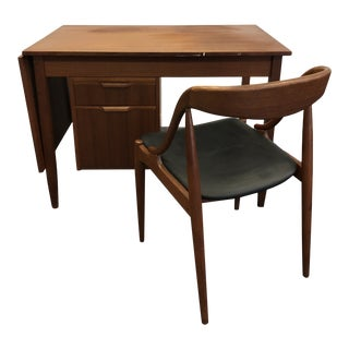 Vintage Mid Century Danish Modern Writing Desk & Chair in the Style of Arne Vodder For Sale