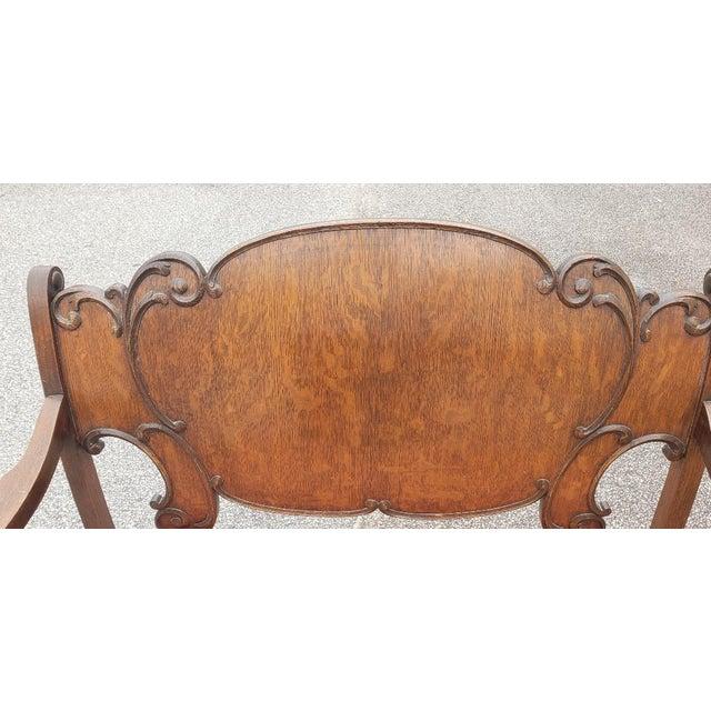Vintage Mid Century Brown Wood Settee For Sale - Image 9 of 11