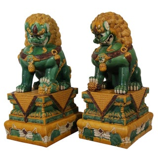 19th Century Chinese Glazed Ceramic Foo Dogs - a Pair
