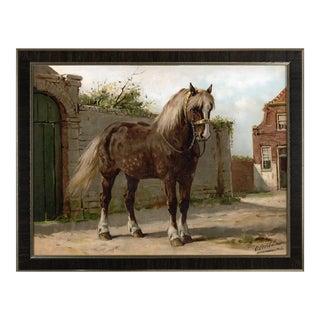 Zeeland Horse by Eerelman Framed in Italian Wood Vener Moulding For Sale