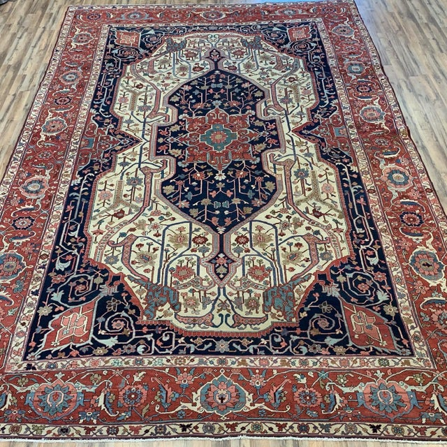 Antique Persian Serapi, Hand knotted from late 19th in perfect condition one of a kind in light ivory color backgrounds...