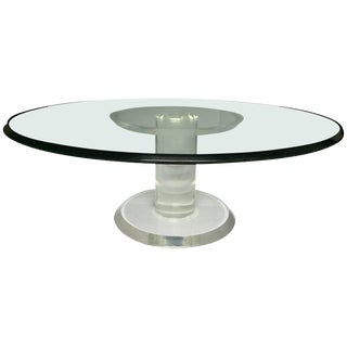 Mid-Century Modern Lucite and Glass Pedestal Cocktail Table For Sale