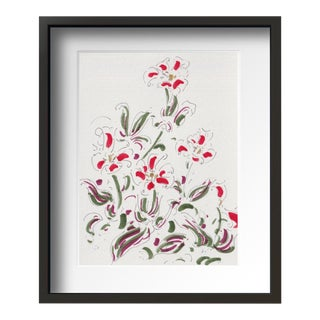 """Red Flower "" Contemporary Still Life Drawing With Frame By Tang Wen Ching For Sale"