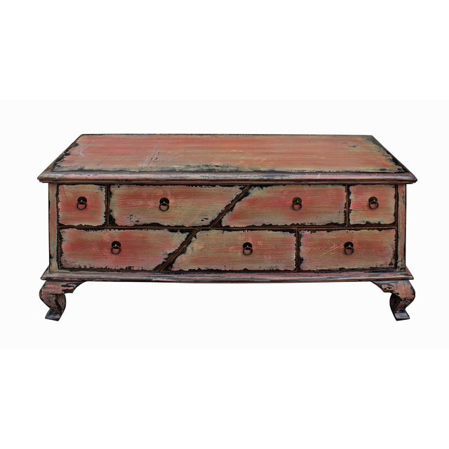 Asian Chinese Pink Distressed Cabinet For Sale - Image 3 of 9