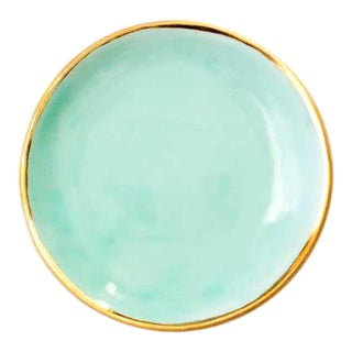 Suite One Studio Ring Dish in Aqua With Gold Rim For Sale
