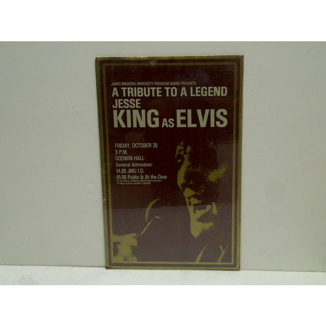 "This is a Vintage Poster -- ""Jesse King As Elvis"" -- James Madison University -- Circa 1980 -- The Poster Is Shrink-..."
