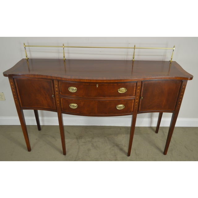 Ethan Allen 18th Century Collection Mahogany Inlaid Hepplewhite Style Sideboard For Sale - Image 12 of 13