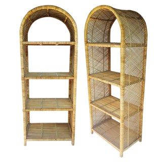 1970s Vintage Rattan Etagere Arched Bookcases - A Pair For Sale