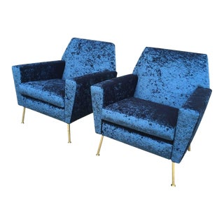 Pair of Sculptural Design Italian Armchairs in Sapphire Blue Velvet