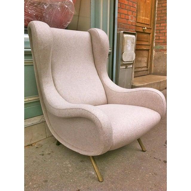 Mid-Century Modern Zanuso Vintage Superb Model Senior, Newly Reupholsterd in Beige For Sale - Image 3 of 9