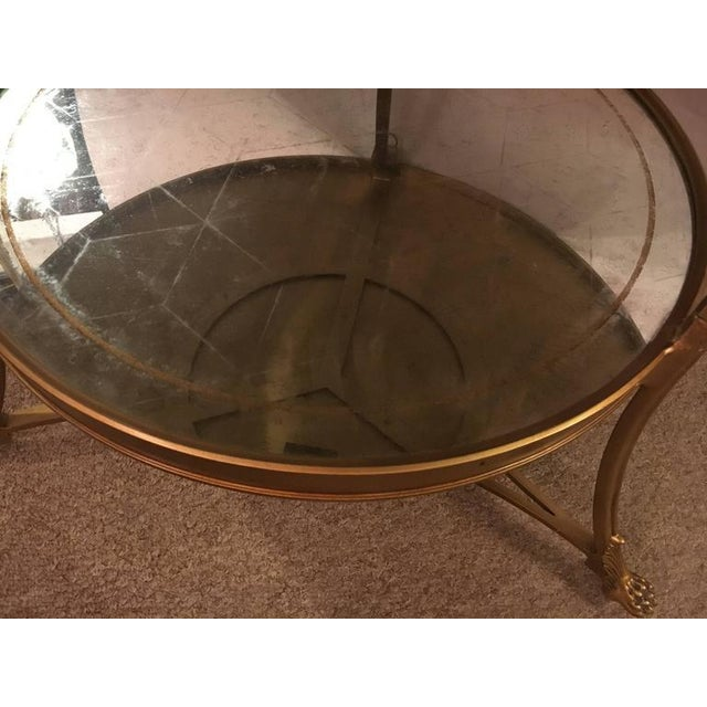 Hollywood Regency Style Gilt Based Eglomise & Mirror Top Gueridon Centre Table For Sale - Image 4 of 10