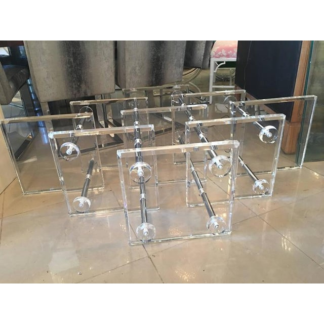 Hollywood Regency Lucite and Chrome Coffee Cocktail Table - Image 5 of 12