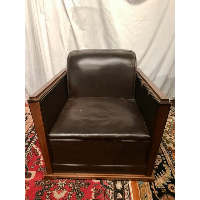 Wood French Art Deco Leather Train Sleeper Club Chairs For Sale - Image 7 of 12