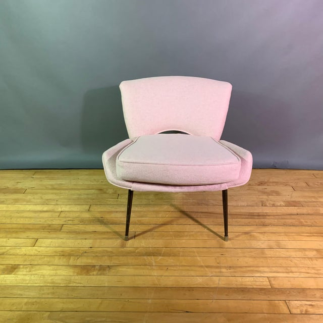 Italian 1950s Boudoir Chair, Pink Felted Wool For Sale - Image 10 of 11