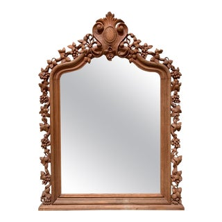 Large Naturalistic Carved Grape Cluster Trumeau Mirror For Sale
