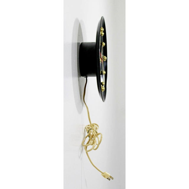 Mid-Century Modern 1960s Mid Century Modern George Nelson Style Black Face Brass Ball Wall Clock For Sale - Image 3 of 8