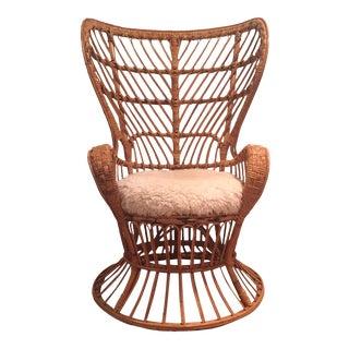 Lio Carminati 'Conte Biancomo' Wingback Wicker Chair