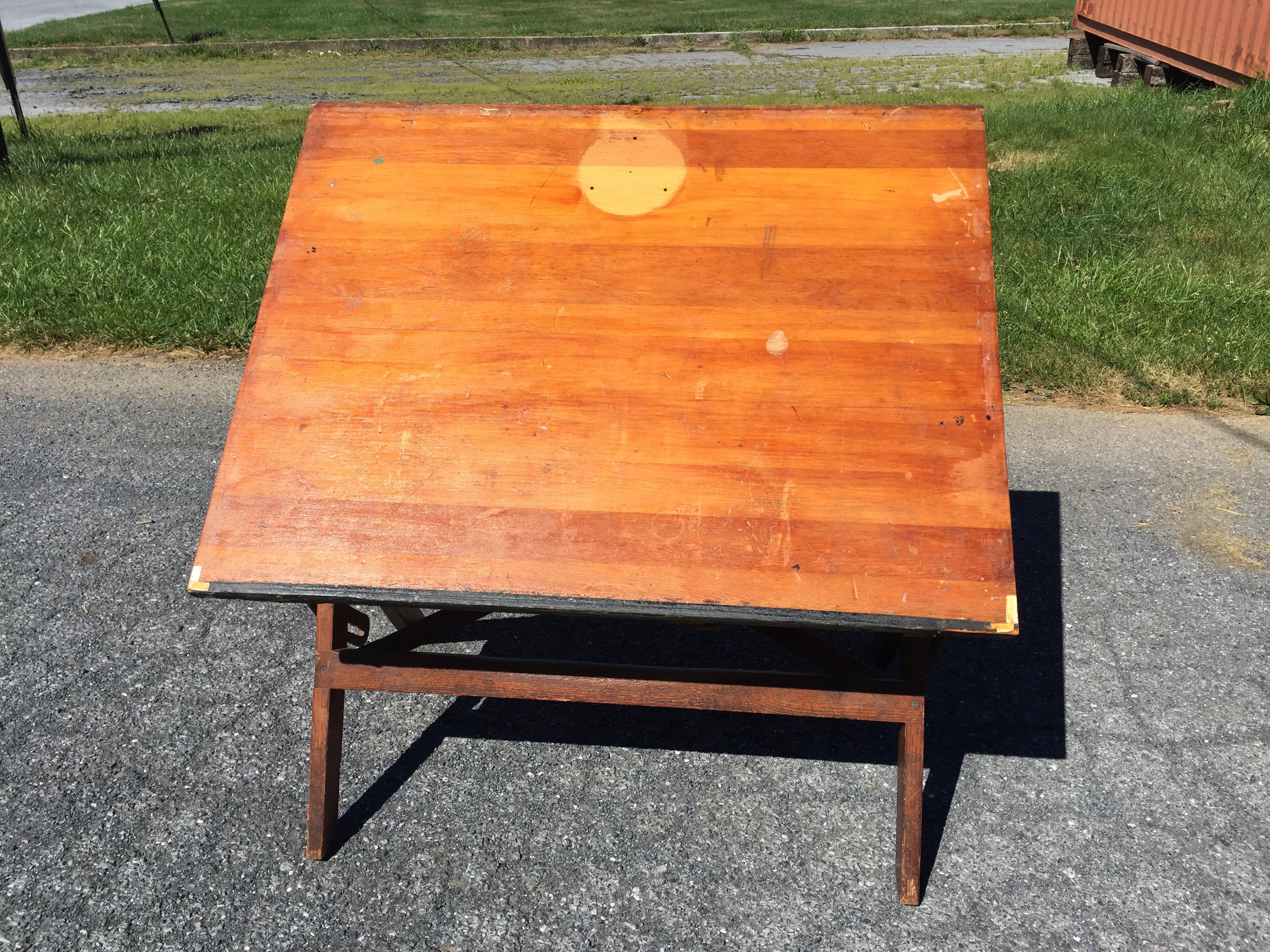 Vintage Industrial Wood U0026 Cast Iron Tilt Top Drafting Table   Image 3 Of 11